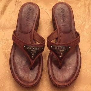 Prada brown leather platforms
